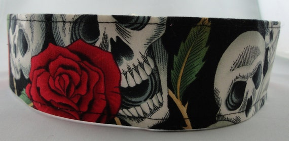 Skulls and roses martingale greyhound collar