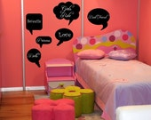 Wall Decal Chalkboard Speech Bubbles Writeable Surface Dorm Decor