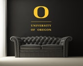 University of Oregon Wall Decals U of O Dorm Decor Sports UO Stacked Logo Officially Licensed Collegiate Product