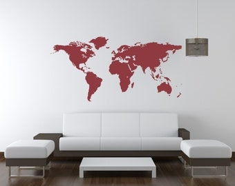 World Map, World Map Wall Decal, World Map Decal, Dorm Decor,  Classroom Decorations, World Traveler, Wanderlust Decal, Nursery Wall Decal