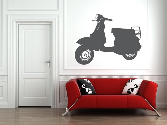 Vespa Scooter, Vespa Wall Decal, Scooter Decal, Hipster Wall Decal, Dorm Decor,  Modern Nursery Decor, Moped Wall Decal, Bike Decal