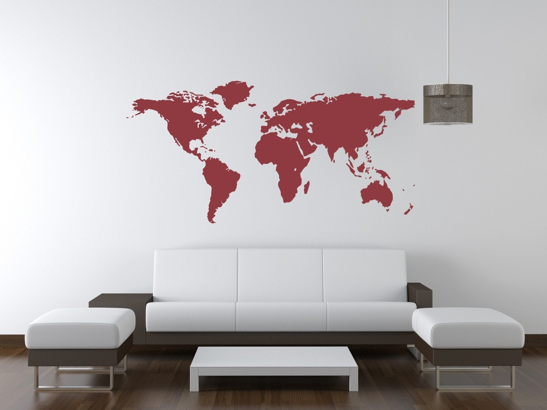 World Map World Map Wall Decal World Map Decal Dorm Decor