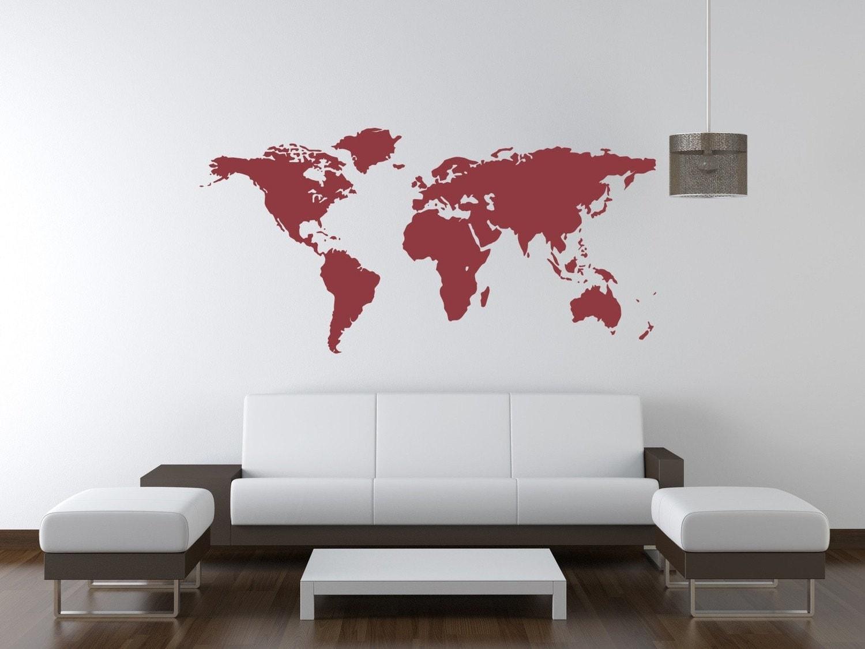 World Map Wall Decal World Map Nursery Decor Wanderlust Wall