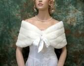 Sale - Ivory faux fur bridal wrap shrug stole shawl FW002-Ivory -  was 49.99
