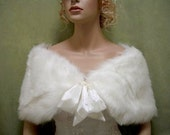 For flower girl - Ivory faux fur bridal wrap shrug stole shawl Cape C002
