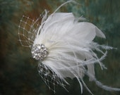 Ivory blusher birdcage veil feather fascinator / hair flower