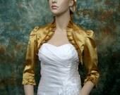 Gold 3/4 sleeve satin wedding bolero jacket shrug