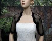 Black elbow length sleeve bridal dot lace wedding bolero jacket
