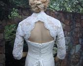 Sale - White 3/4 sleeve bridal shrug lace bolero wedding bolero jacket - keyhole back - alencon lace- was 129.99