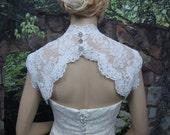 White sleeveless bridal lace bolero jacket - keyhole back - alencon lace
