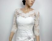 V-neck ivory Alencon Lace bolero jacket Bridal Bolero Wedding jacket wedding bolero bridal shrug bridal jacket