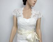 Ivory Front open Alencon Lace bolero jacket Bridal Bolero Wedding jacket wedding bolero bridal shrug