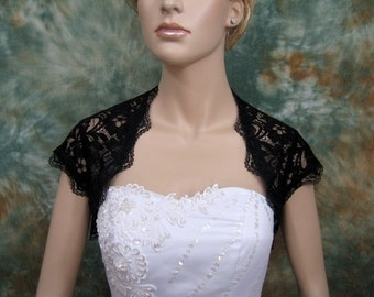 Black cap sleeve bridal lace wedding bolero jacket