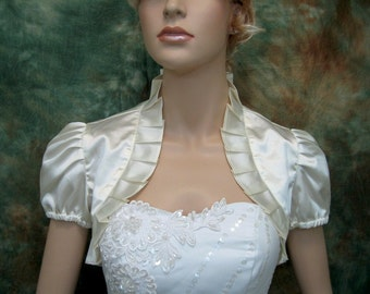 Ivory short sleeve satin wedding bolero jacket shrug