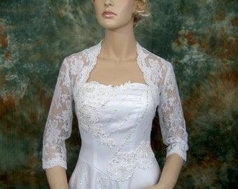 Lace bolero, wedding bolero, white 3/4 sleeve bridal alencon lace wedding bolero jacket