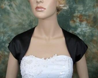 Black sleeveless satin bolero wedding bolero jacket shrug