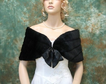 Sale - Black faux fur bridal wrap shrug stole shawl Cape FW002-Black - was 49.99