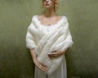 Bridal faux fur stole wrap shrug A002