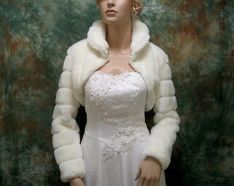Ivory faux fur bolero faux fur shrug long sleeve FB001-Ivory