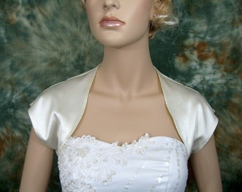Ivory sleeveless satin wedding bolero jacket shrug