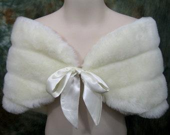 For Flower girl - Ivory faux fur bridal wrap shrug stole shawl FW002F-Ivory