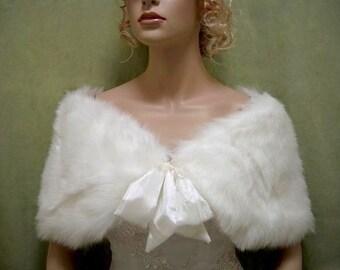 Flower girl Ivory faux fur shawl faux fur wrap faux fur shrug faux fur stole C002