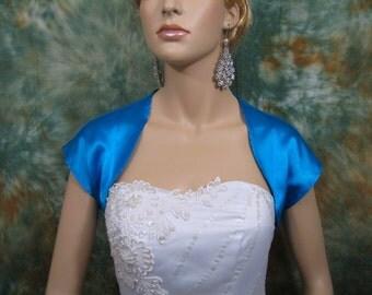 Bright Blue sleeveless satin bolero wedding bolero jacket shrug