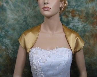 Gold sleeveless satin bolero wedding bolero jacket shrug