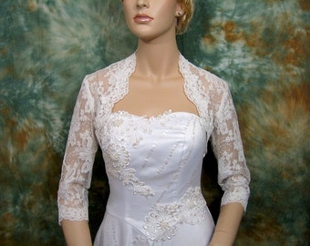 Ivory 3/4 sleeve bridal alencon lace wedding bolero jacket