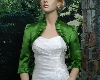 Moss Green 3/4 sleeve satin bolero wedding bolero jacket shrug