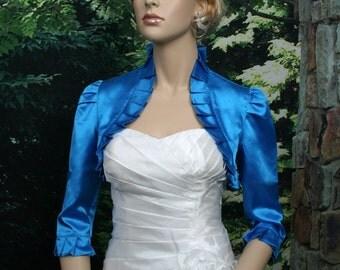 Bright Blue 3/4 sleeve satin bolero wedding bolero jacket shrug