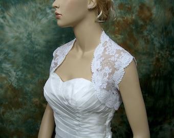 Lace bolero, wedding bolero, white sleeveless bridal alencon lace wedding bolero jacket