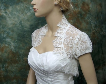 Lace bolero, wedding bolero, wedding jacket, ivory short sleeve lace wedding bolero jacket shrug