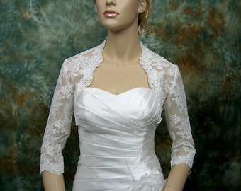 Ivory 3/4 sleeve bridal shrug lace bolero wedding bolero jacket - made of alencon lace