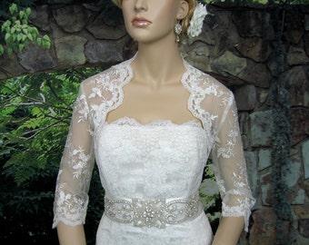 Ivory 3/4 sleeve wedding bridal bolero jacket - embroidered lace