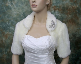 Ivory faux fur bolero faux fur shrug FB004-Ivory