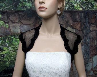 Wedding bolero, lace bolero, bridal jacket, black sleeveless bridal dot lace wedding bolero jacket