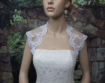 Ivory / white sleeveless bridal alencon lace bolero wedding bolero jacket