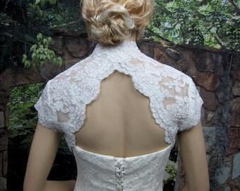 Wedding bolero, lace bolero, wedding jacket, bridal bolero, ivory lace bolero, cap sleeve, keyhole back, alencon lace