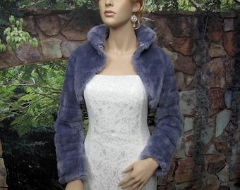 Silver faux fur long sleeve jacket shrug bolero FB001-Silver