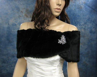 Black faux fur wrap bridal shrug stole shawl FW006-Black