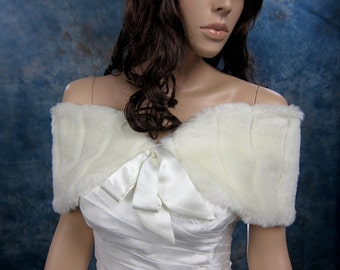 Ivory faux fur shawl bridal shrug stole wrap FW008-Ivory