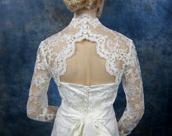 Wedding bolero, lace bolero, bridal bolero jacket, Ivory bolero, long sleeve lace bolero, keyhole back, alencon lace