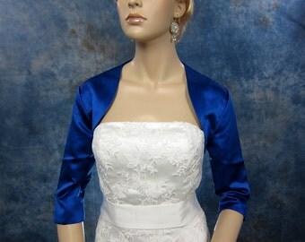 Blue 3/4 sleeve satin wedding bolero jacket shrug