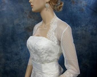 Lace bolero, wedding jacket, 3/4 sleeve wedding bridal ivory lace bolero jacket - dot lace