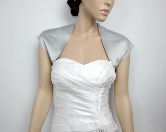 Silver sleeveless satin bolero wedding bolero jacket shrug