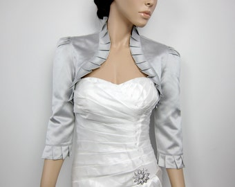 Silver 3/4 sleeve satin wedding bolero jacket shrug