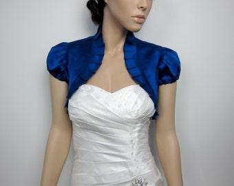 Wedding bolero, Royal Blue bolero, satin bolero, short sleeve bolero, satin wedding bolero, bolero jacket, bridal shrug, bridal jacket