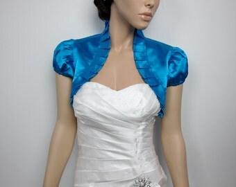 Bright Blue short sleeve satin bolero wedding bolero jacket shrug