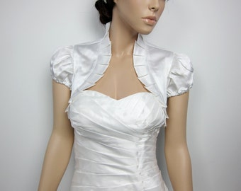 Off-White short sleeve satin wedding bolero jacket shrug